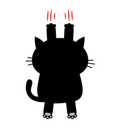 cartoon black cat scratching back view red bloody vector image