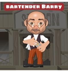 Cartoon character in Wild West - bartender Barry vector image
