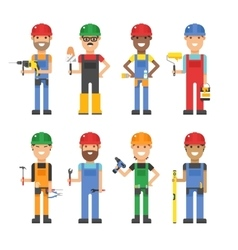 Cartoon workers and other tools under construction vector