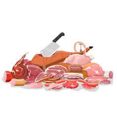 collection meat vector image