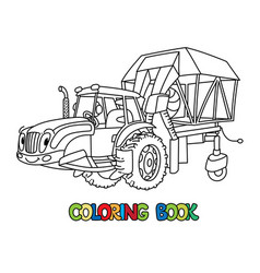 Cotton harvester or combine coloring book vector