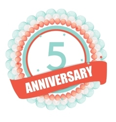Cute Template 5 Years Anniversary with Balloons vector