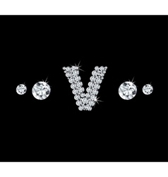 Diamond alphabetic letter v vector