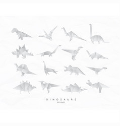 dinosaurus origami set vector image