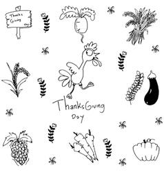 Doodle of han draw vegetable thanksgiving vector image