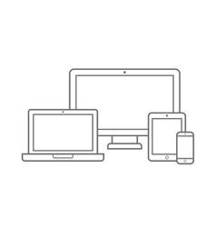 Electronic Device with Different Screen Size Icons vector image