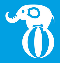 Elephant balancing on a ball icon white vector