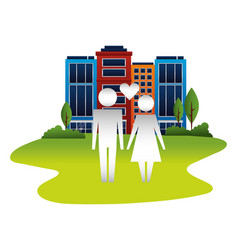 family couple with heart in cityscape isolated vector image