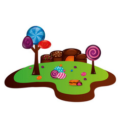 Fantasy sweet candies chocolate landscape vector