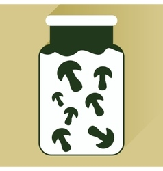 Flat icon with long shadow pickled mushrooms vector
