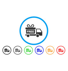 gift delivery car rounded icon vector image vector image