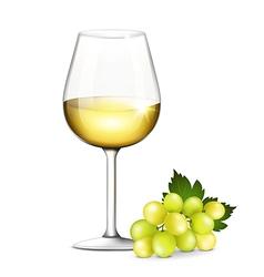 Glass of white wine vector
