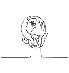 Globe of the earth in human hand vector