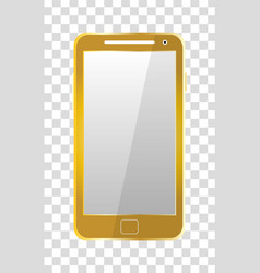 Golden modern mobile phone isolated vector