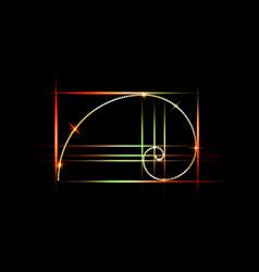 Golden ratio fibonacci number colorful section vector