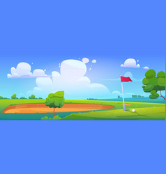 golf course on nature landscape with ball on grass vector image