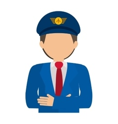 half body pilot with crossed arms vector image