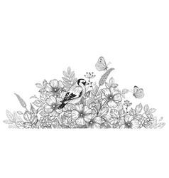 hand drawn bird flowers and butterflies vector image