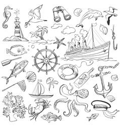 hand-drawn elements marine theme vector image