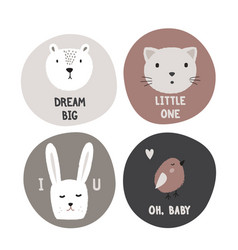 Hand drawn kids design cirles with cute animals vector