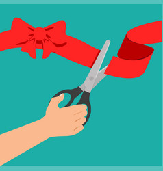 hand red ribbon with black scissors vector image
