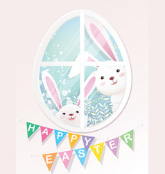 Happy easter bunnies are looking through window vector
