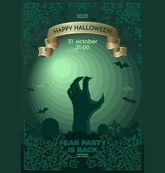happy halloween with dead hand in full moon light vector image