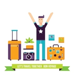 Happy man ready for travel adventures Tourism vector image