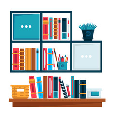 home library or book store bookshelves isolated vector image