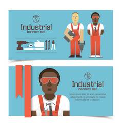 Industrial banners with workmen vector