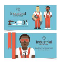 Industrial banners with workmen vector