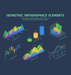 isometric infographics presentation graphics vector image