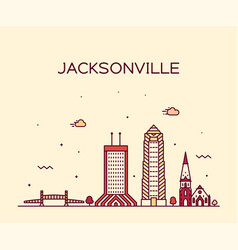 jacksonville skyline florida usa line city vector image