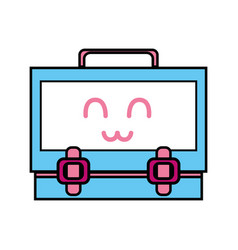 Kawaii cute happy suitcase design vector