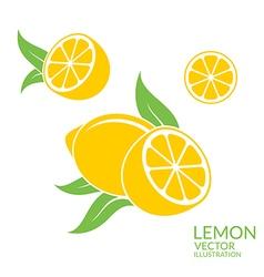 Lemon isolated fruit on white background vector