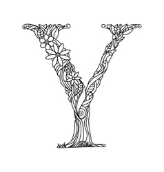 Letter Y coloring book for adults vector image