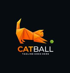 Logo cat and ball gradient colorful style vector