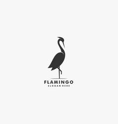 Logo flamingo silhouette style vector