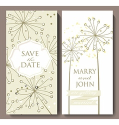 Marriage invitation card with flower background vector image
