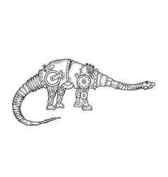 mechanical dinosaur animal engraving vector image