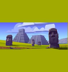 Moai statues and pyramids republic chile vector