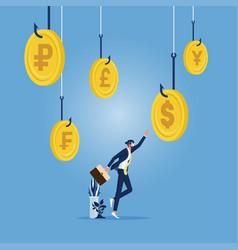 money trap concept-businessman reach to money vector image