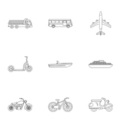 Movement on machine icons set outline style vector
