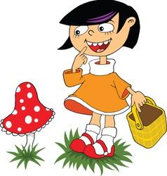 mushroom cartoon girl vector image
