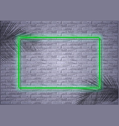Neon light on brick wall and palm leaf shadows vector