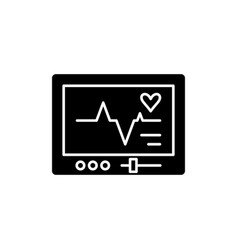 Pacemaker black icon sign on isolated vector