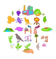 pollution of nature icons set cartoon style vector image