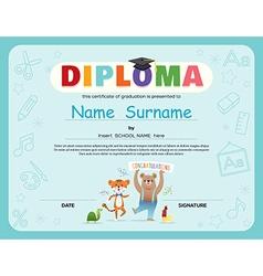 Preschool Kids Diploma certificate vector image
