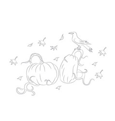 pumpkins on which the crow sits on halloween vector image