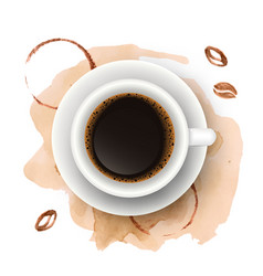 realistic coffee cup with watercolor coffee vector image